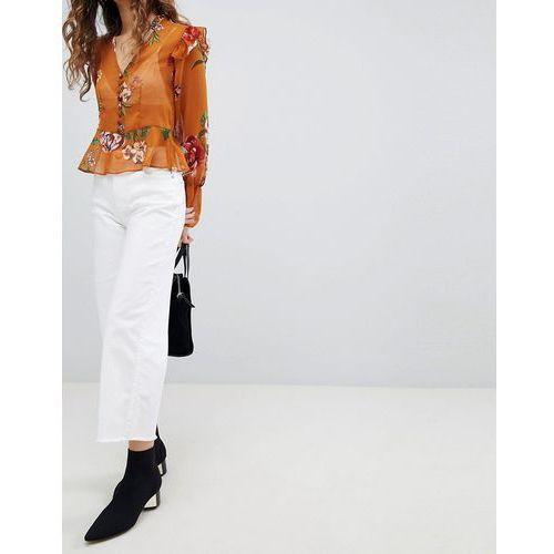Miss Selfridge Wide Leg Cropped Jeans - White, kolor biały