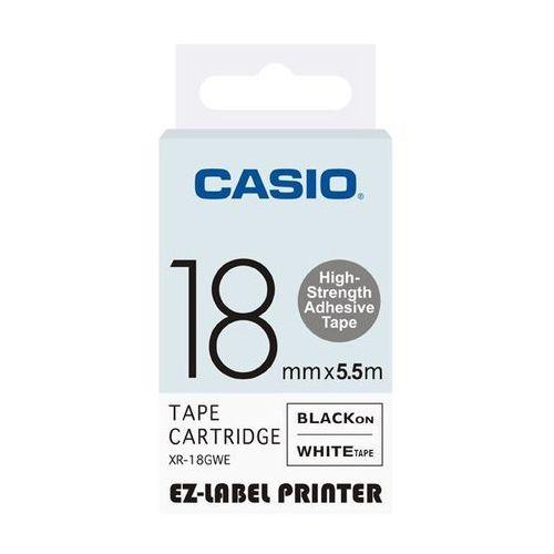 Casio taśma etykiet (zwiększona trwałość) XR-18GWE, XR18GWE, XR-18GWE