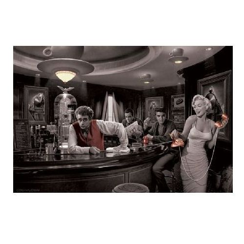Marilyn Monroe, James Dean i Elvis Presley - Java Dreams by Chris Consani - plakat