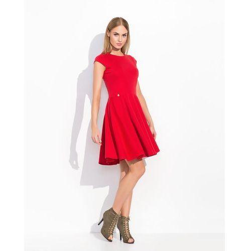 Czerwona rozkloszowana sukienka koktajlowa z niewielkim rękawkiem, Makadamia, 36-38