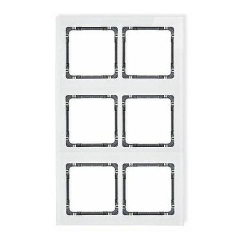 Deco ramka modułowa 6 krotna (2 poziom, 3 pion) - efekt szkła (ramka biała spód grafitowy) biały 0-11-drsm-2x3 marki Karlik elektrotechnik sp. z o.o.