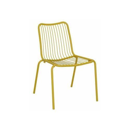 Krzesło ogrodowe HELSINKI stalowe żółte (5901721054097)