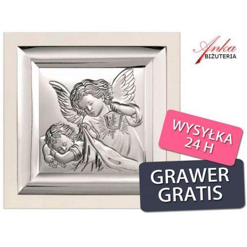 Pamiątka dla dziecka - obrazek srebrny aniołek nad dzieckiem - 19 cm* 19 cm marki Valenti & co