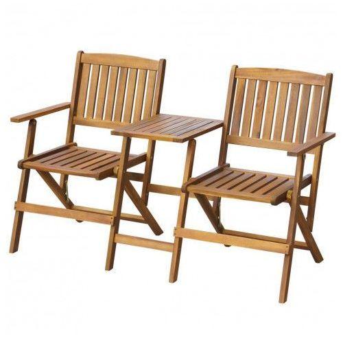 Drewniana ławka ogrodowa lango - brązowa marki Producent: elior