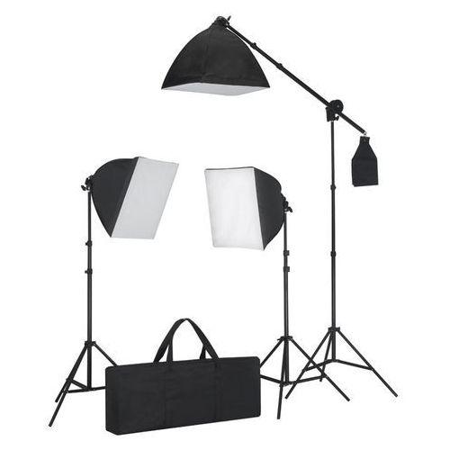 zestaw oświetleniowy, 3 lampy fotograficzne na statywie i softbox. marki Vidaxl