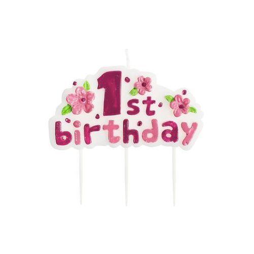 Świeczka na pikerach 1st Birthday różowa - 1 szt., STOR/0869