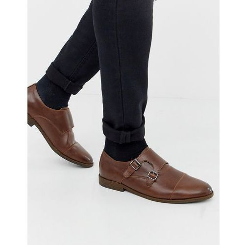 monk strap shoes in brown - brown, New look