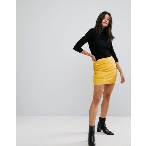 Only Faux Leather Mini Skirt - Yellow