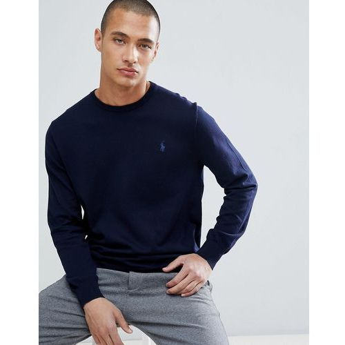 slim fit pima cotton knit jumper player logo in navy - navy marki Polo ralph lauren