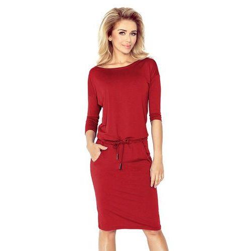 06184be4ef Bordowa Sukienka Sportowa Ściągana w Pasie