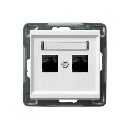 Gniazdo komputerowe 2x rj45, kat. 5e biały gpk-2r/k/m/00 sonata marki Ospel