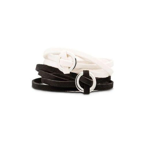 Bonprix Komplet bransoletek zawijanych na ręce (2 części) czarno-beżowy