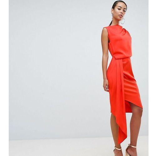 b398489177 Suknie i sukienki · Asos design tall satin drape midi dress with sash  detail - orange