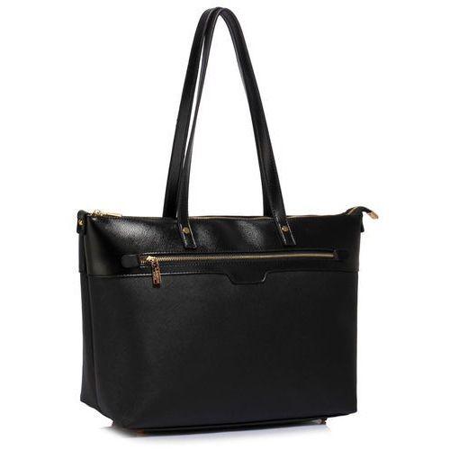 Duża czarna klasyczna torebka na ramię - czarny