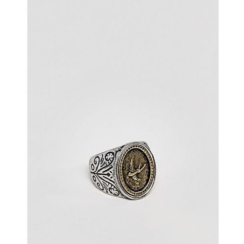 Classics 77 patterned signet ring in antique silver - silver