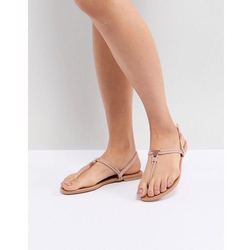 New Look Leather Look Toe Post Metal Detail Flat Sandal - Pink