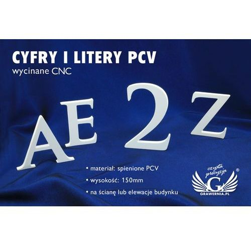 Cyfry i litery na ścianę lub elewację budynku - pcv - wysokość 15cm marki Grawernia.pl - grawerowanie i wycinanie laserem