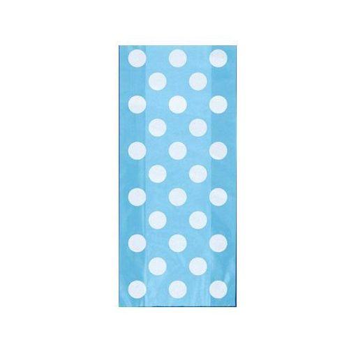 Unique Torebki prezentowe błękitne w białe kropki - 28,5 x 12,5 cm - 20 szt.