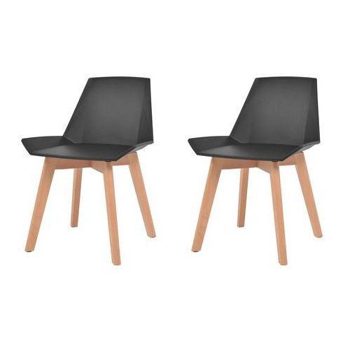 vidaXL Komplet 2 krzeseł, drewniane nogi i czarne, plastikowe siedziska, kolor czarny