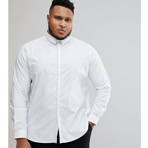 Noak PLUS Skinny Shirt With Concealed Placket - White, kolor biały