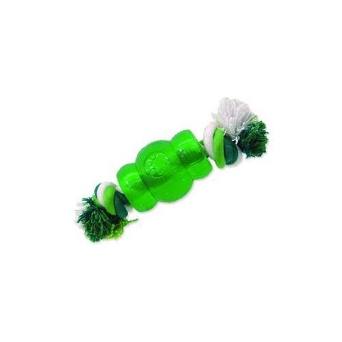 Hračka DOG FANTASY Strong Mint soudek gumový s provazem zelený 6,9 cm, 454-30439