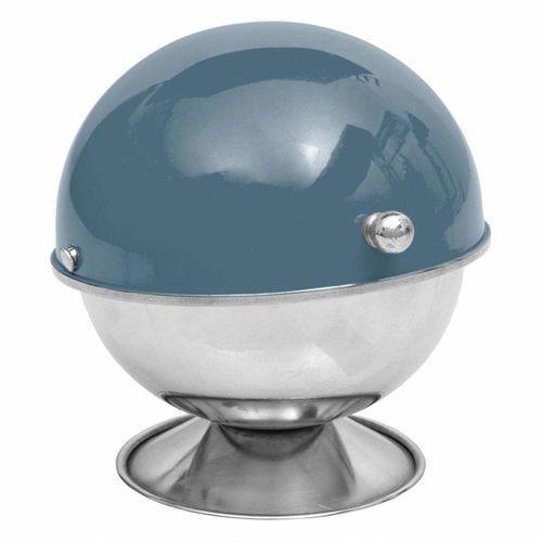 Srebrna cukiernica z pokrywą w kolorze niebieskim, nowoczesna cukierniczka o unikatowym designie