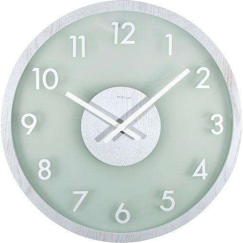 Nextime Zegar na ścianę frosted wood biały (3205 wi)