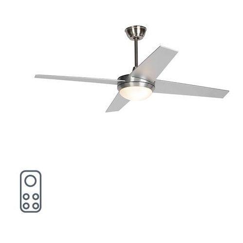 Wentylator sufitowy srebrny z pilotem - roar 52 marki Qazqa