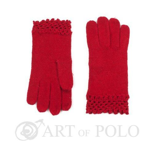 Czerwone wełniane rękawiczki damskie z ażurową koronką - czerwony marki Evangarda