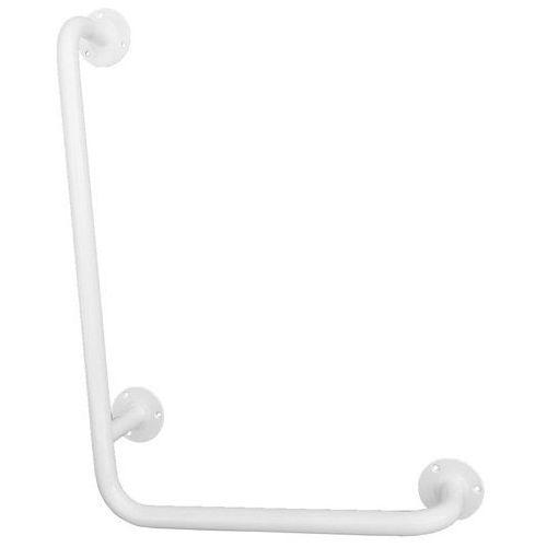 Uchwyt dla niepełnosprawnych kątowy L ⌀ 25 800 x 400 mm stal biała (5901764291381)