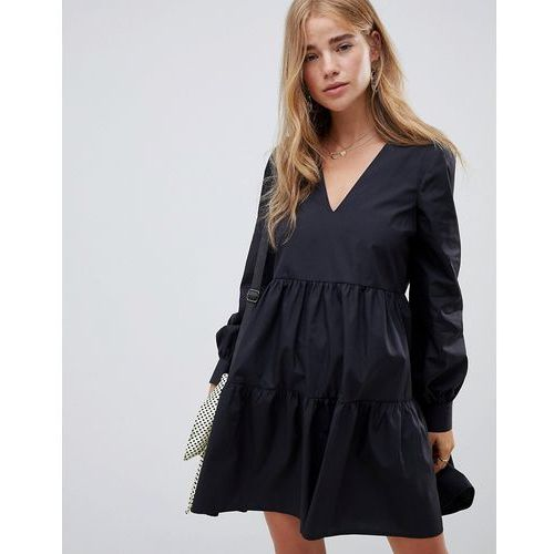 ASOS DESIGN tiered cotton smock mini dress with long sleeves - Black