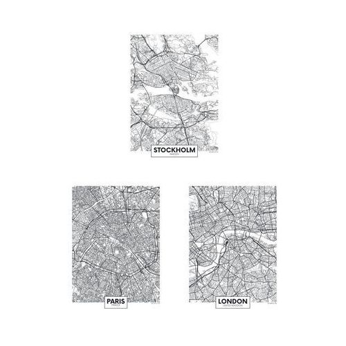 Art canvas Zestaw 3 plakatów miasta europy 30 x 40 cm (5901844237858)