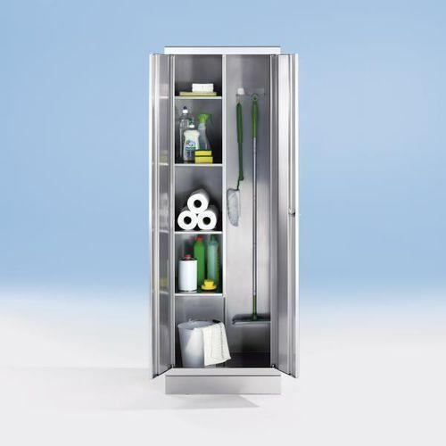 Szafa ze stali szlachetnej, szafka na środki czystości, 4 półki po lewej stronie marki Kek
