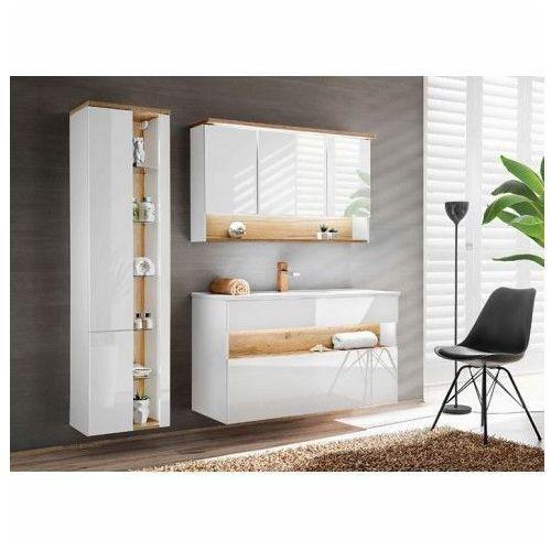 Zestaw mebli łazienkowych z oświetleniem LED Monako 3Q 120 cm - Biały połysk, BAHAMA -WHITE-SET-120 cm