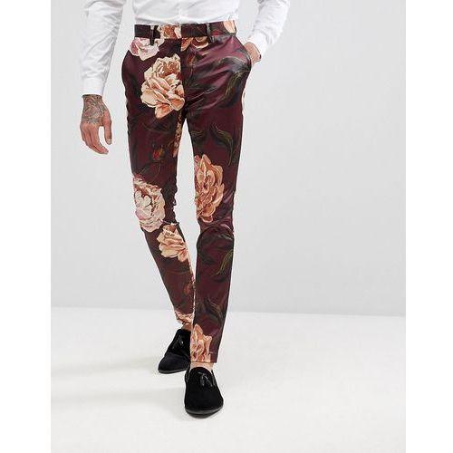 super skinny suit trousers in burgundy floral print sateen - red marki Asos