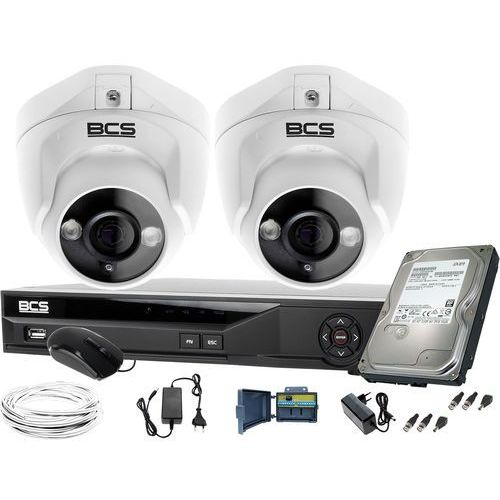 Zm11971 zestaw monitoringu kamery 2szt. bcs-dmqe1500ir3-b bcs-xvr04014ke-ii 1tb marki Bcs