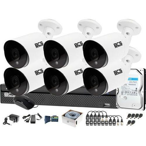 Zestaw do monitoringu 6 kamer -tq4203ir3-b rejestrator bcs-xvr0801-iii dysk 1tb marki Bcs