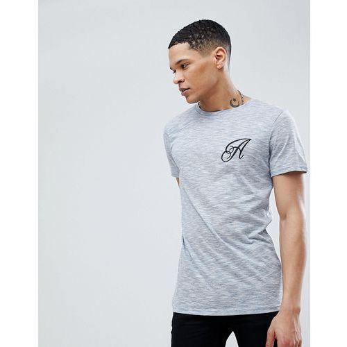 long line curved hem stretch logo t-shirt - blue marki Another influence