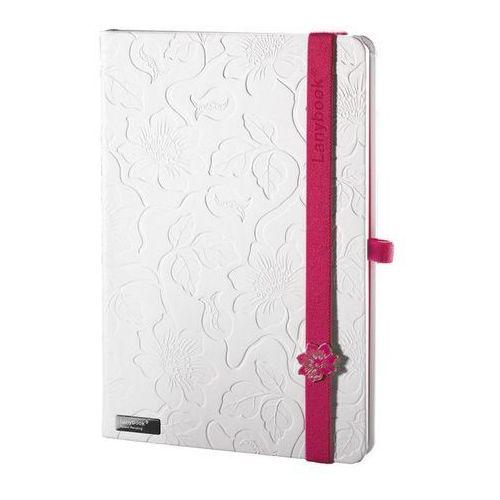 Lediberg Notes a5 lanybook innocent passion w kratkę biały z czerwoną gumką (8057432195530)