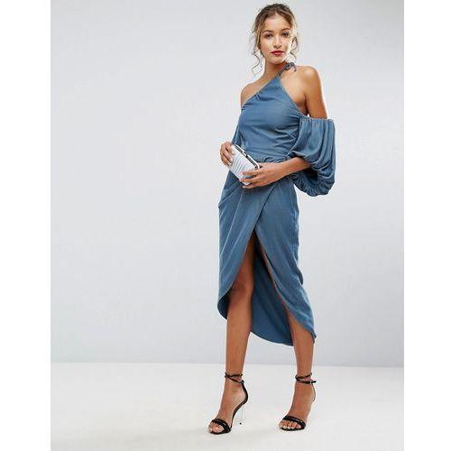 Asos one shoulder velvet drape midi dress - blue