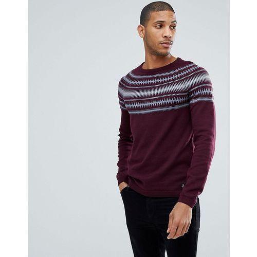 jumper with grey fairisle design - red, Tom tailor