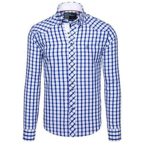 Chabrowa koszula męska elegancka w kratę z długim rękawem Bolf 5812 - CHABROWY, kolor niebieski