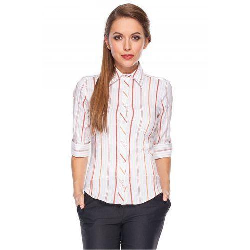 Koszula w pionowe prążki - Duet Woman, kolor biały