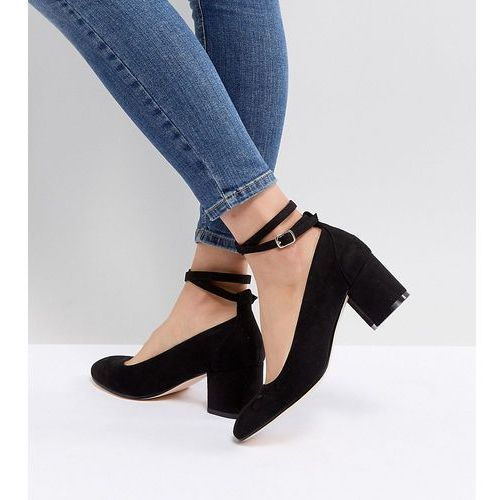 London Rebel Wide Fit Mid Block Heeled Shoes - Black