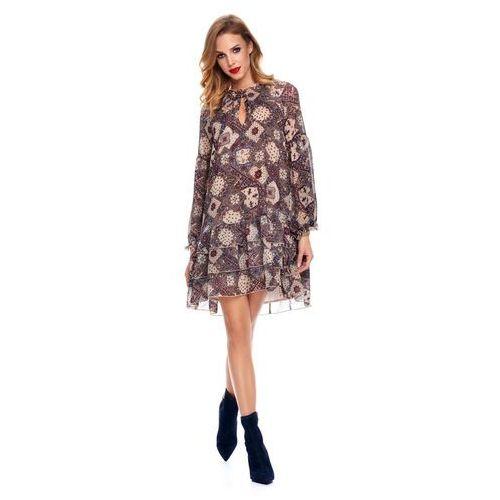 Sukienka Zadie we wzory na kremowym tle, w 2 rozmiarach