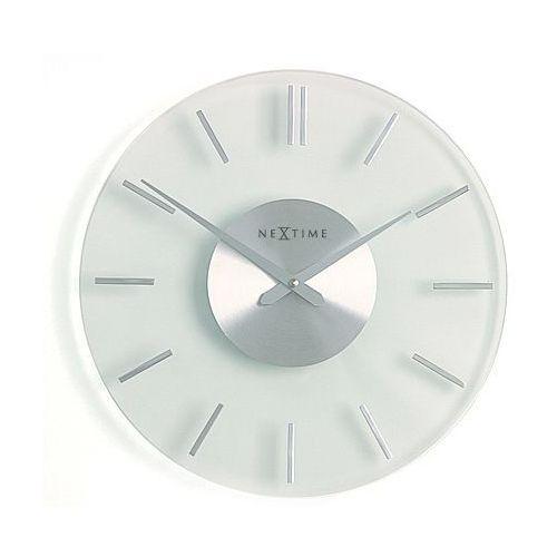 Nextime :: Zegar Ścienny Stripe Ø 31cm Szklany, kolor szary