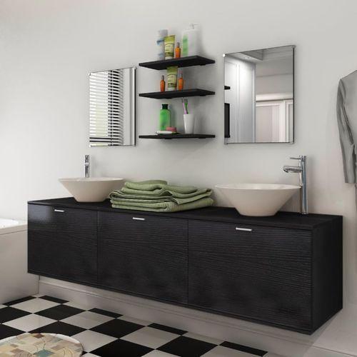Vidaxl 8 elementowy zestaw czarnych mebli łazienkowych z umywalkami (8718475966579)