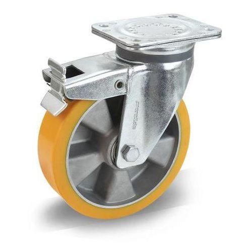 Opona z PU na feldze aluminiowej, Ø x szer. kółka 100x40 mm, rolka skrętna z pod