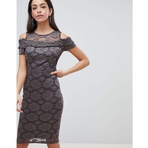 AX Paris Cold Shoulder Lace Pencil Dress - Grey