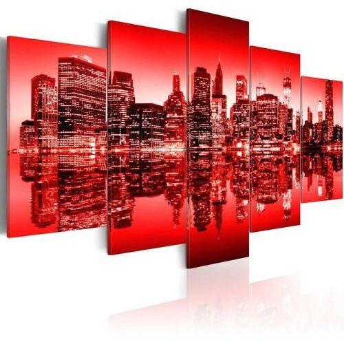 Obraz - Czerwona poświata nad Nowym Jorkiem - 5 częsci